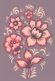 Ρωσική λαϊκή τέχνη Khokhloma Εξωτικά λουλούδια καρτών Στοκ Εικόνα