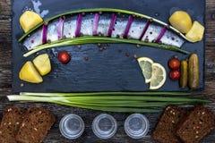 Ρωσική γιορτή με τις ρέγγες, τα κρεμμύδια, τις πατάτες και τη βότκα Στοκ φωτογραφία με δικαίωμα ελεύθερης χρήσης