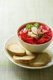 Ρωσική εθνική κόκκινη σούπα borscht Στοκ Φωτογραφίες