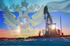 Ρωσική εταιρεία πετρελαίου, ρωσική σημαία, χειμώνας Στοκ Φωτογραφίες