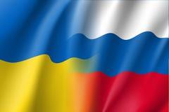 Ρωσική και ουκρανική διανυσματική σημαία Στοκ εικόνες με δικαίωμα ελεύθερης χρήσης