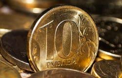 Ρωσική κινηματογράφηση σε πρώτο πλάνο 10 νομισμάτων ρουβλιών Στοκ Φωτογραφίες