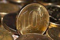 Ρωσική κινηματογράφηση σε πρώτο πλάνο 10 νομισμάτων ρουβλιών Στοκ Εικόνες