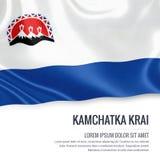 Ρωσική κρατικό Kamchatka Krai σημαία που κυματίζει σε ένα απομονωμένο άσπρο BA Στοκ εικόνες με δικαίωμα ελεύθερης χρήσης