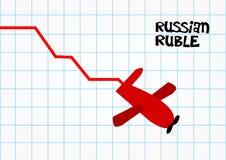 Ρωσική οικονομική συντριβή ρουβλιών Στοκ φωτογραφία με δικαίωμα ελεύθερης χρήσης