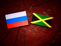 Ρωσική σημαία με την τζαμαϊκανή σημαία σε ένα κολόβωμα δέντρων Στοκ Φωτογραφία
