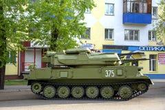 Ρωσική στρατιωτική κινηματογράφηση σε πρώτο πλάνο εξοπλισμού Στην πόλη Ειρηνικός χρόνος Αντιαεροπορικό σύστημα στοκ εικόνα