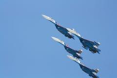 Ρωσικοί υπερηχητικοί μαχητές SU-27 Στοκ εικόνα με δικαίωμα ελεύθερης χρήσης