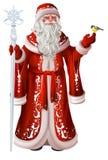 Ρωσικός Άγιος Βασίλης κρατά το προσωπικό και tit Εθνικά αναδρομικά ενδύματα Ρωσία Χριστουγέννων απεικόνιση αποθεμάτων