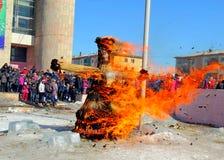 Ρωσικός εορτασμός του χειμώνα Maslenitsa (Shrovetide) Στοκ εικόνες με δικαίωμα ελεύθερης χρήσης