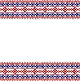 Ρωσικός, ουκρανικός και Σκανδιναβικός εθνικός πλέκει τα ορισμένα κόκκινων και μπλε χρώματα συνόρων, απεικόνιση αποθεμάτων