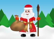 Ρωσικός παγετός Άγιου Βασίλη ή πατέρων γνωστός επίσης ως Ded Moroz με το προσωπικό και τις συντηρήσεις ένα σύνολο τσαντών των δώρ ελεύθερη απεικόνιση δικαιώματος
