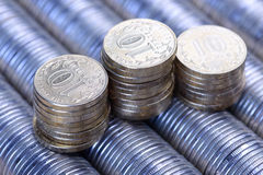 Ρωσικός σωρός ρουβλιών του ασημένιου υποβάθρου νομισμάτων μετάλλων Στοκ φωτογραφία με δικαίωμα ελεύθερης χρήσης