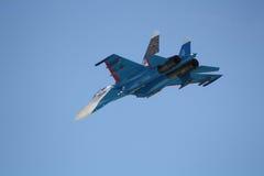 Ρωσικός υπερηχητικός μαχητής SU-27 Στοκ φωτογραφία με δικαίωμα ελεύθερης χρήσης