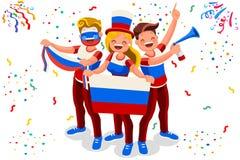 Ρωσικός υποστηρικτής σημαιών ομάδων ποδοσφαίρου Στοκ Εικόνα
