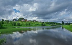 Ρωσικό βόρειο χωριό Matigory Στοκ Φωτογραφίες