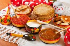 Ρωσικό γεύμα Shrovetide Στοκ Εικόνα