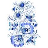 Ρωσικό εθνικό floral σχέδιο στο ύφος Gzhel (λουλούδια της ρωσικής κεραμικής, χρωματισμένο μπλε στο λευκό). Στοκ Εικόνες