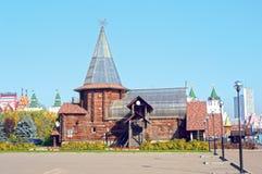 Ρωσικό εστιατόριο Ξύλινος τύπος Μόσχα Ρωσία σκηνών οικοδόμησης Στοκ Εικόνα