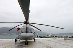 Ρωσικό ελικόπτερο mi-8 AMT σε μια περιοχή έκθεσης Στοκ Φωτογραφίες