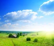 ρωσικό θερινό χωριό ημέρας Στοκ Εικόνες