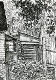 Ρωσικό ξύλινο σπίτι Στοκ φωτογραφία με δικαίωμα ελεύθερης χρήσης