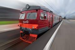 Ρωσικό παλαιό ηλεκτρικό τραίνο σιδηροδρόμων Στοκ φωτογραφία με δικαίωμα ελεύθερης χρήσης