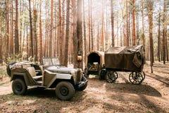 Ρωσικό σοβιετικό φορτηγό gaz-67 στρατού τετράτροχου Drive Δεύτερου Παγκόσμιου Πολέμου αυτοκίνητο Στοκ Φωτογραφίες