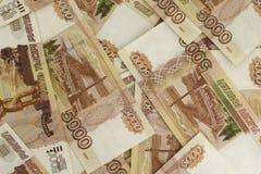 Ρωσικό υπόβαθρο τραπεζογραμματίων ρουβλιών Στοκ Φωτογραφία