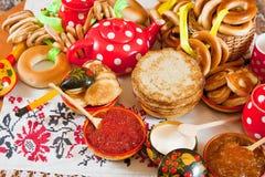 ρωσικό shrovetide γεύματος Στοκ Εικόνα