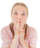 ρωτά τη σιωπή κοριτσιών Στοκ Φωτογραφία