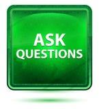 Ρωτήστε το νέο ερωτήσεων το ανοικτό πράσινο τετραγωνικό κουμπί διανυσματική απεικόνιση