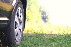 Ρόδα αυτοκινήτων με την κινηματογράφηση σε πρώτο πλάνο θερινών ροδών στην πράσινη χλόη στοκ φωτογραφίες