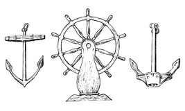 Ρόδα βαρκών s και πλωτή άγκυρα Θαλάσσιο σκίτσο, ναυτικό ταξίδι στον ωκεανό χαραγμένος τρύγος, χέρι που σύρονται, ατλαντικός παλιρ ελεύθερη απεικόνιση δικαιώματος