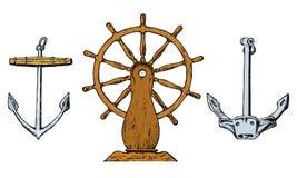 Ρόδα βαρκών s και πλωτή άγκυρα Θαλάσσιο σκίτσο, ναυτικό ταξίδι στον ωκεανό χαραγμένος τρύγος, χέρι που σύρονται, ατλαντικός παλιρ απεικόνιση αποθεμάτων