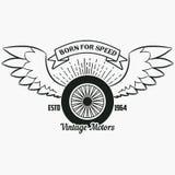 Ρόδα με τα φτερά Εκλεκτής ποιότητας λογότυπο hipster Τυπωμένη ύλη για το σχέδιο απεικόνιση αποθεμάτων