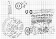Ρόδα μηχανών και αυτοκινήτων σε ένα άσπρο υπόβαθρο απεικόνιση αποθεμάτων