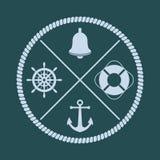 Ρόδα σκαφών ` s, κουδούνι, άγκυρα και lifebuoy σκιαγραφίες με διασχισμένος απεικόνιση αποθεμάτων