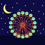 Ρόδα Ferris νύχτας με το φωτισμό, διανυσματική απεικόνιση στο επίπεδο ύφος κινούμενων σχεδίων Ρόδα, φεγγάρι και αστέρια Ferris Στοκ Εικόνες