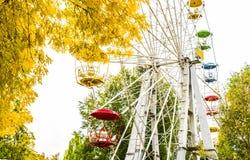 Ρόδα Ferris στο πάρκο φθινοπώρου η πόλη φθινοπώρου στεγάζει τα δέντρα φύλλων κίτρινα Στοκ Εικόνα