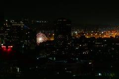 Ρόδα ferris του Σιάτλ τη νύχτα στοκ εικόνες