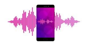 Ρόδινα ιώδη υγιή κύματα στην οθόνη ενός smartphone ελεύθερη απεικόνιση δικαιώματος
