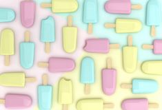Ρόδινα, κίτρινα και μπλε παγωτά Στοκ εικόνες με δικαίωμα ελεύθερης χρήσης