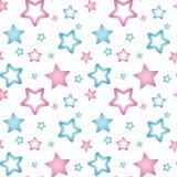 Ρόδινα και μπλε nacre αστέρια σε ένα άσπρο σχέδιο υποβάθρου άνευ ραφής Απεικόνιση αποθεμάτων