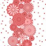 Ρόδινα λουλούδια μαργαριτών κύκλων κρητιδογραφιών στα άσπρα άνευ ραφής σύνορα, διάνυσμα Στοκ Εικόνα