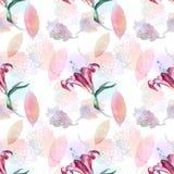 Ρόδινα λουλούδια σε άνευ ραφής Στοκ εικόνα με δικαίωμα ελεύθερης χρήσης