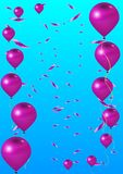 Ρόδινα μπαλόνια και κομφετί διακοπών ελεύθερη απεικόνιση δικαιώματος