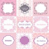 Ρόδινα πλαίσια συλλογής, κάρτες, σχέδια Μπορέστε να χρησιμοποιηθείτε για Birthda Στοκ Εικόνες
