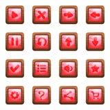 Ρόδινα τετραγωνικά κουμπιά στο ξύλινο διανυσματικό σύνολο κινούμενων σχεδίων πλαισίων στοκ εικόνα