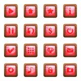 Ρόδινα τετραγωνικά κουμπιά στο ξύλινο διανυσματικό σύνολο κινούμενων σχεδίων πλαισίων στοκ εικόνες με δικαίωμα ελεύθερης χρήσης
